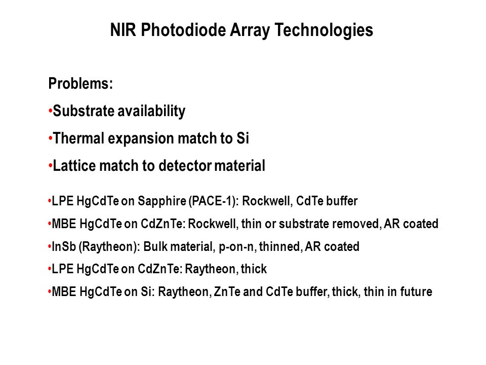NIR Photodiode Array Technologies