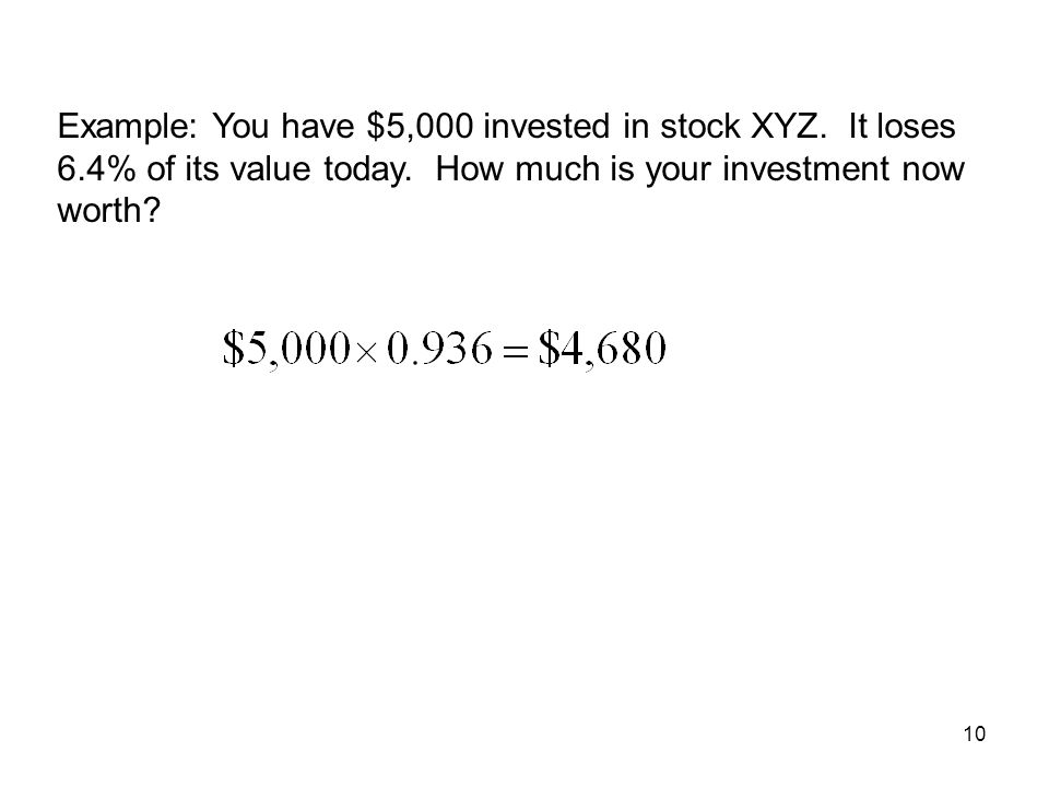Example: You have $5,000 invested in stock XYZ. It loses 6