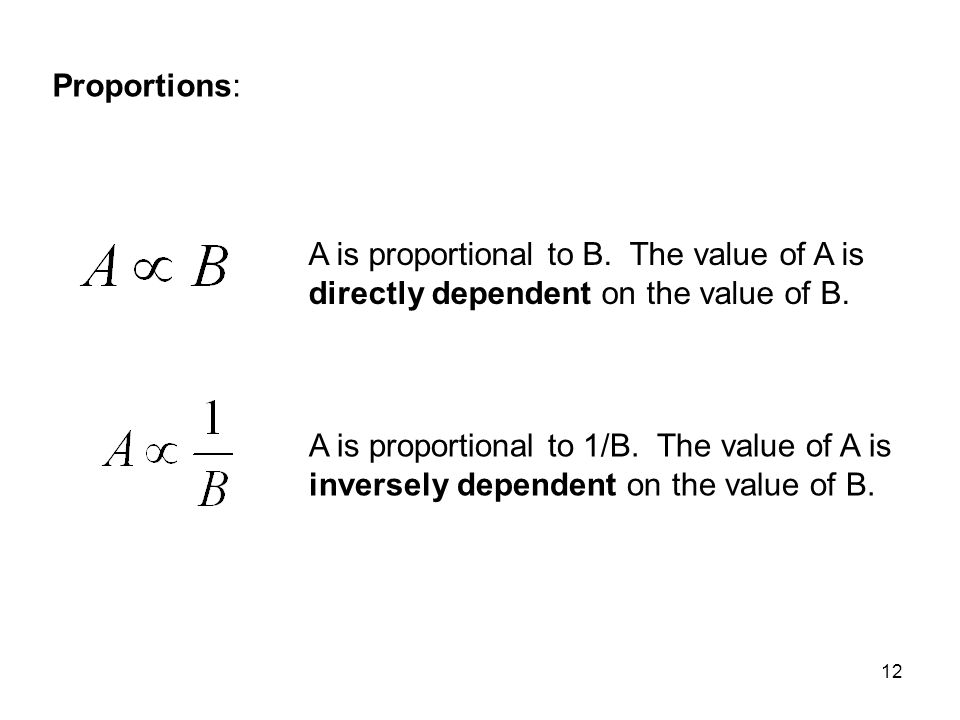 Proportions: A is proportional to B. The value of A is directly dependent on the value of B.