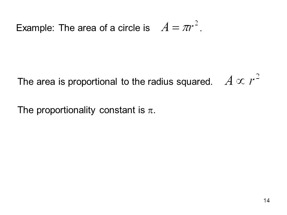 Example: The area of a circle is