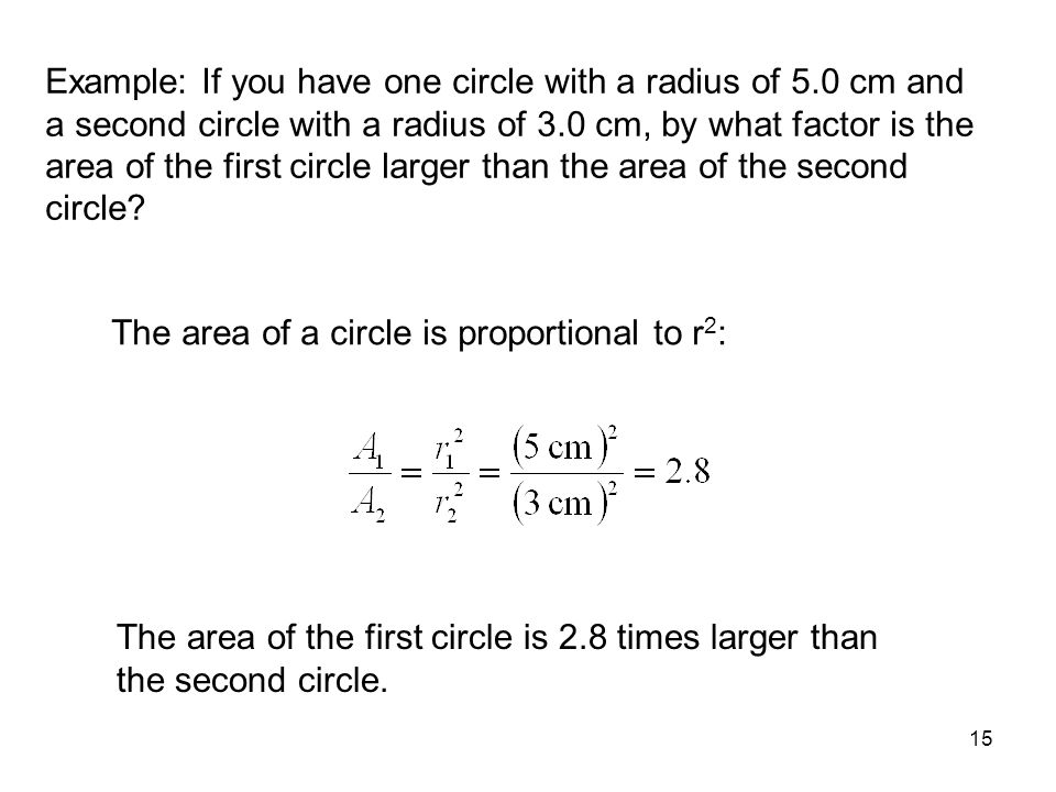 Example: If you have one circle with a radius of 5
