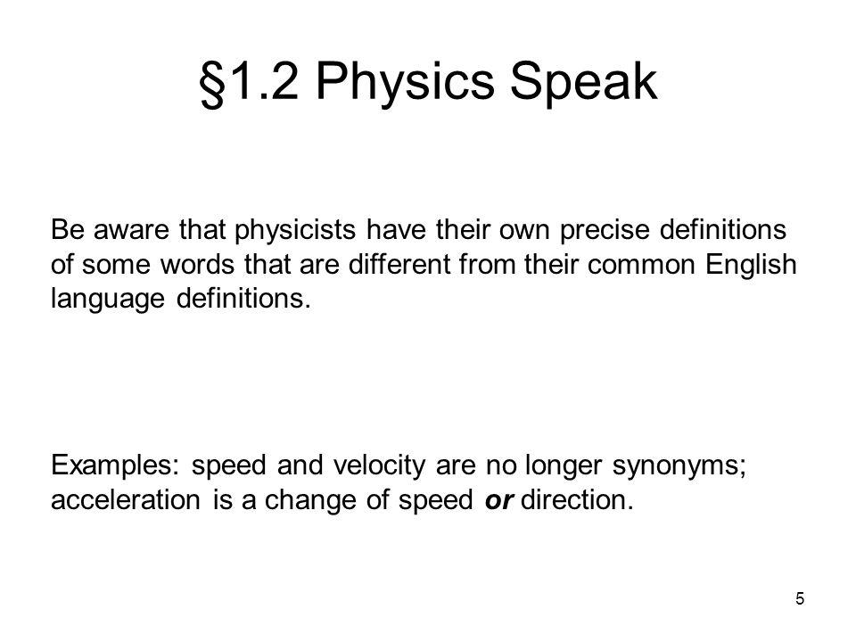 §1.2 Physics Speak