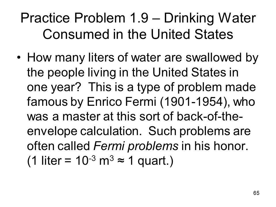 Practice Problem 1.9 – Drinking Water Consumed in the United States