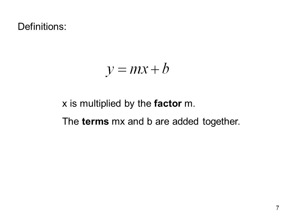 Definitions: x is multiplied by the factor m. The terms mx and b are added together.