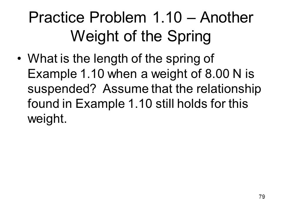 Practice Problem 1.10 – Another Weight of the Spring