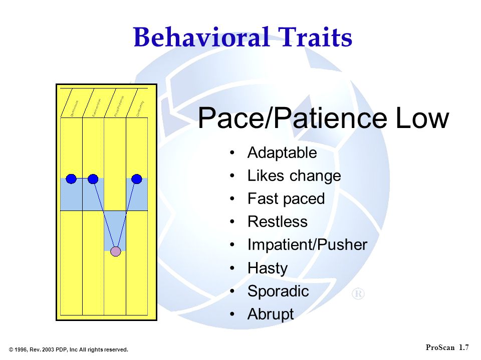 Pace/Patience Low Behavioral Traits Adaptable Likes change Fast paced