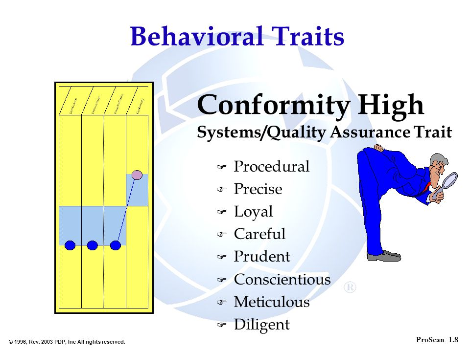 Conformity High Behavioral Traits Systems/Quality Assurance Trait