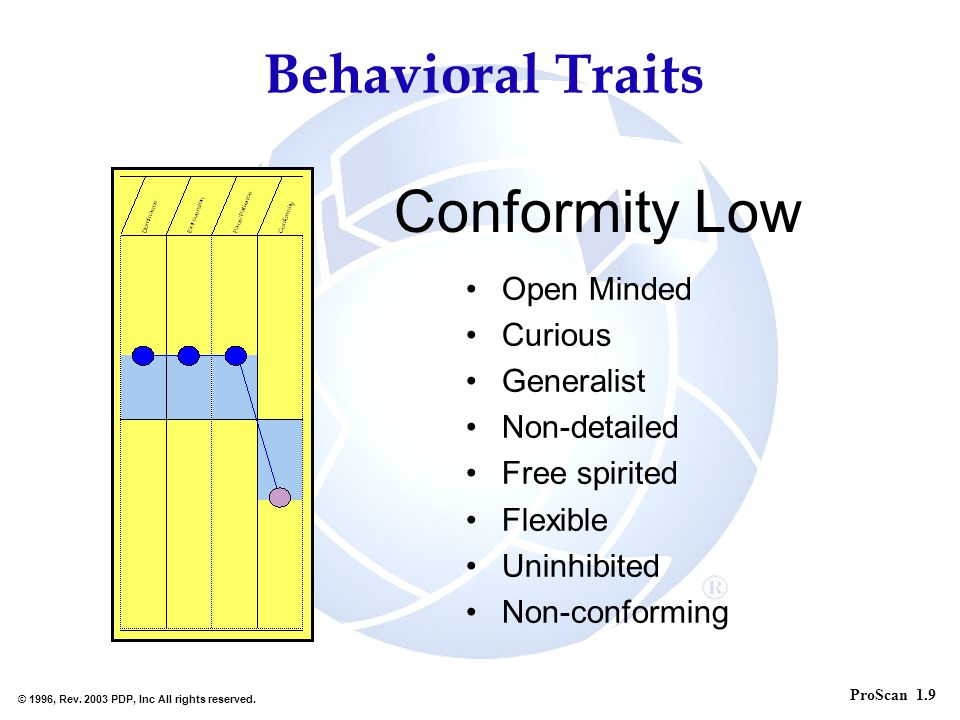 Conformity Low Behavioral Traits Open Minded Curious Generalist