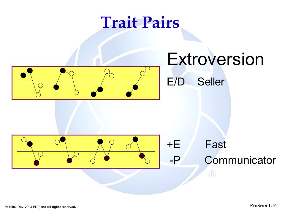 Extroversion Trait Pairs E/D Seller +E Fast -P Communicator l l