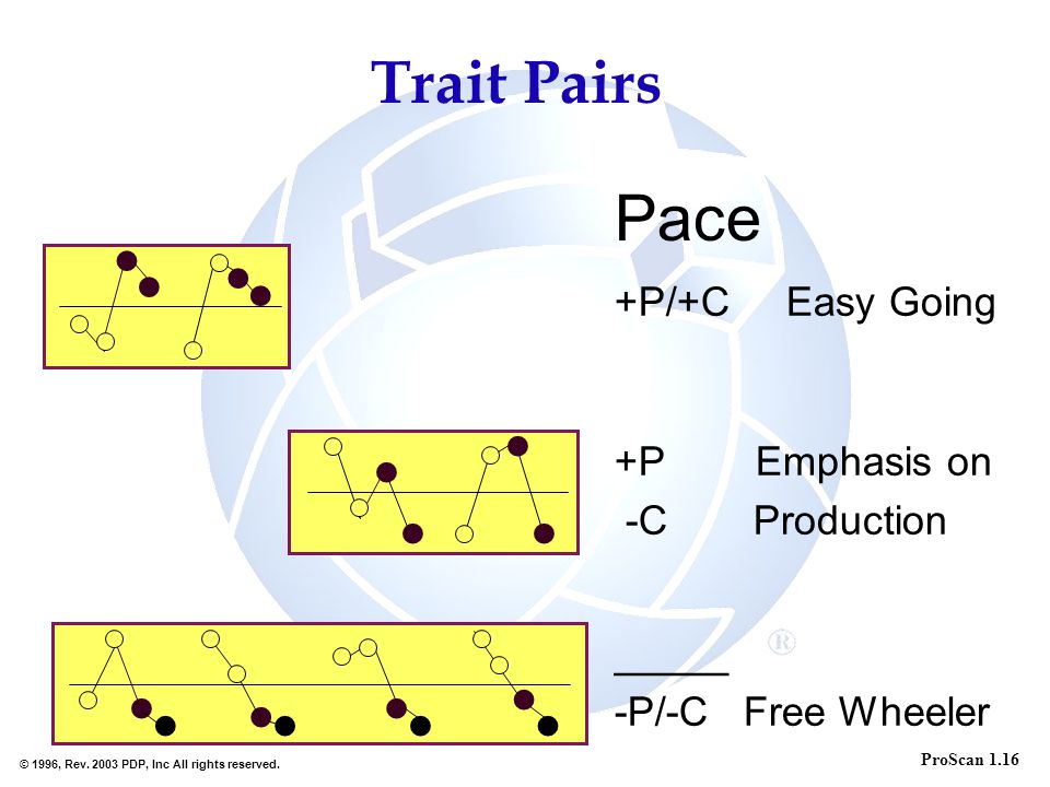 Pace Trait Pairs +P/+C Easy Going +P Emphasis on -C Production _____