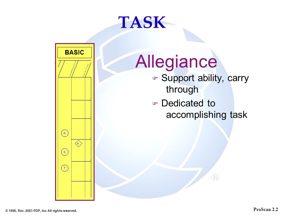 Allegiance TASK Support ability, carry through