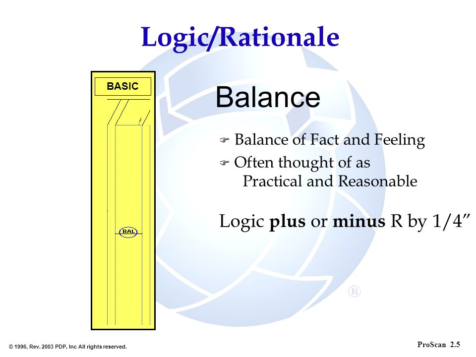 Balance Logic/Rationale Balance of Fact and Feeling