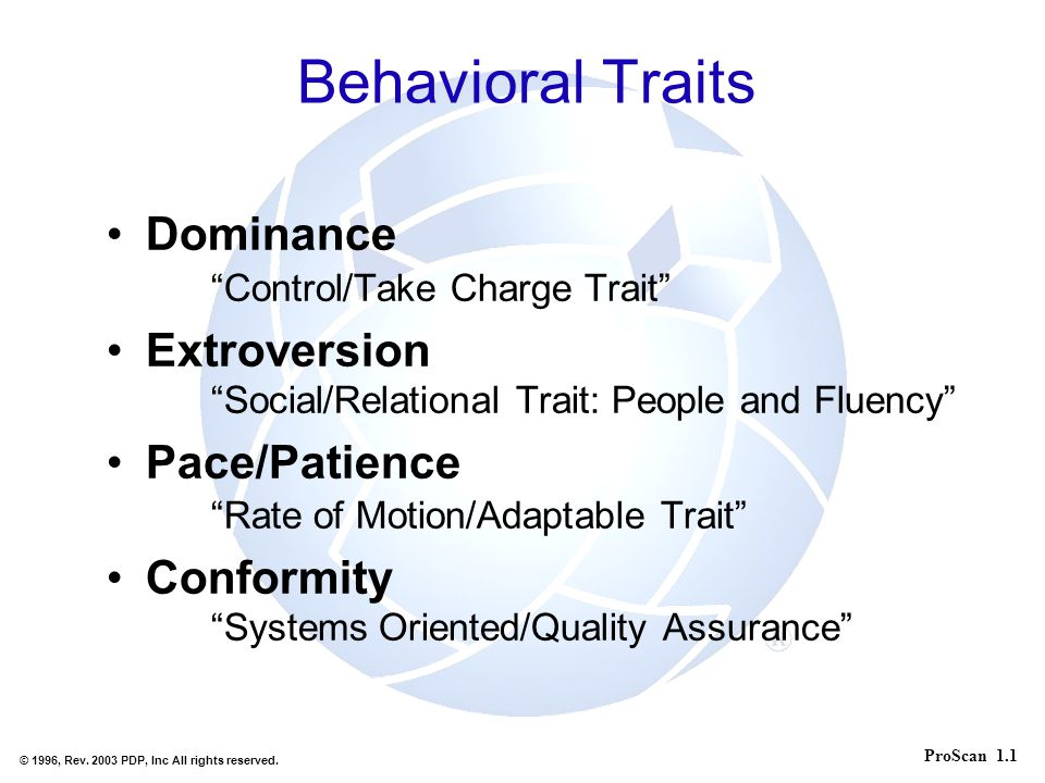 Behavioral Traits Dominance Control/Take Charge Trait