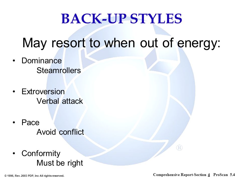 May resort to when out of energy:
