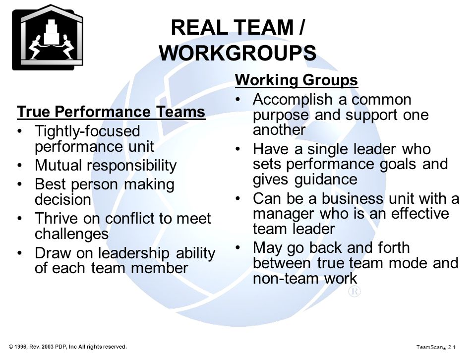 REAL TEAM / WORKGROUPS Working Groups