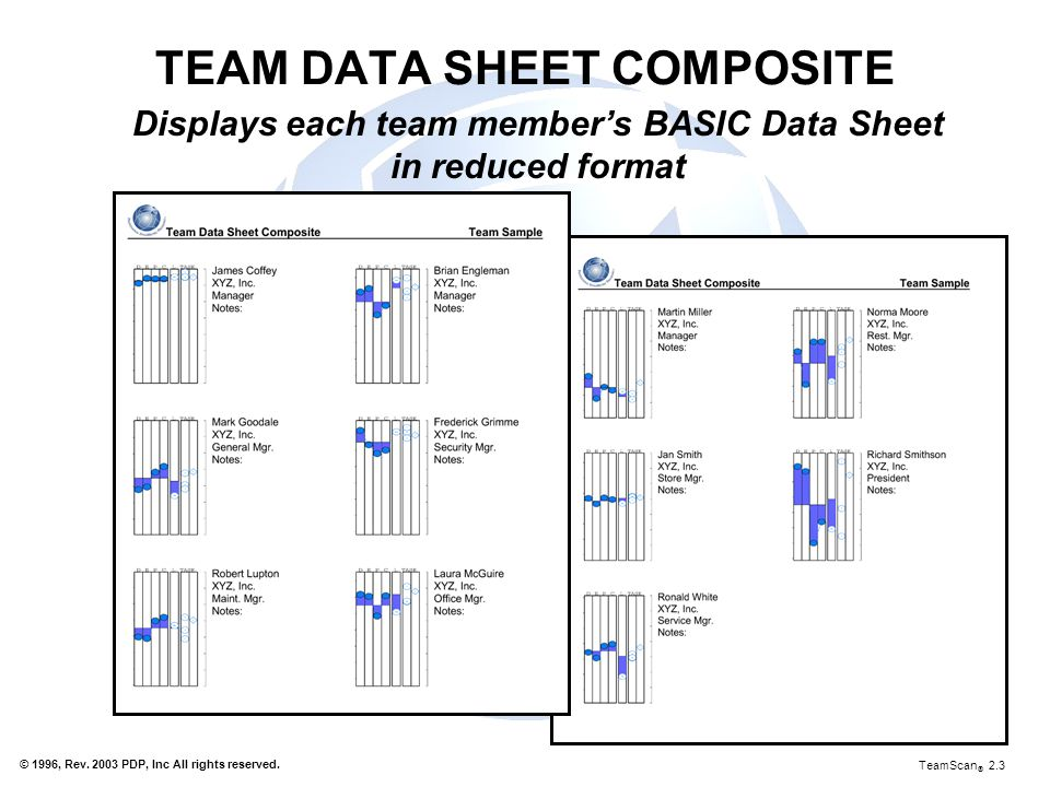 TEAM DATA SHEET COMPOSITE