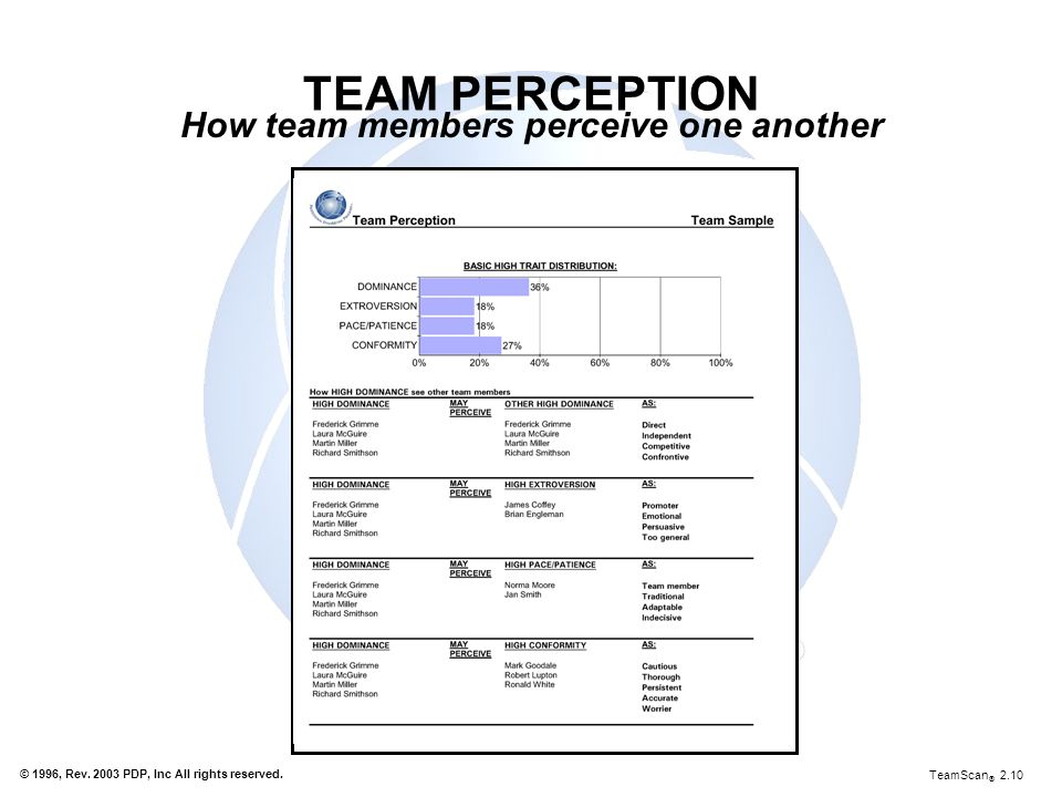 How team members perceive one another
