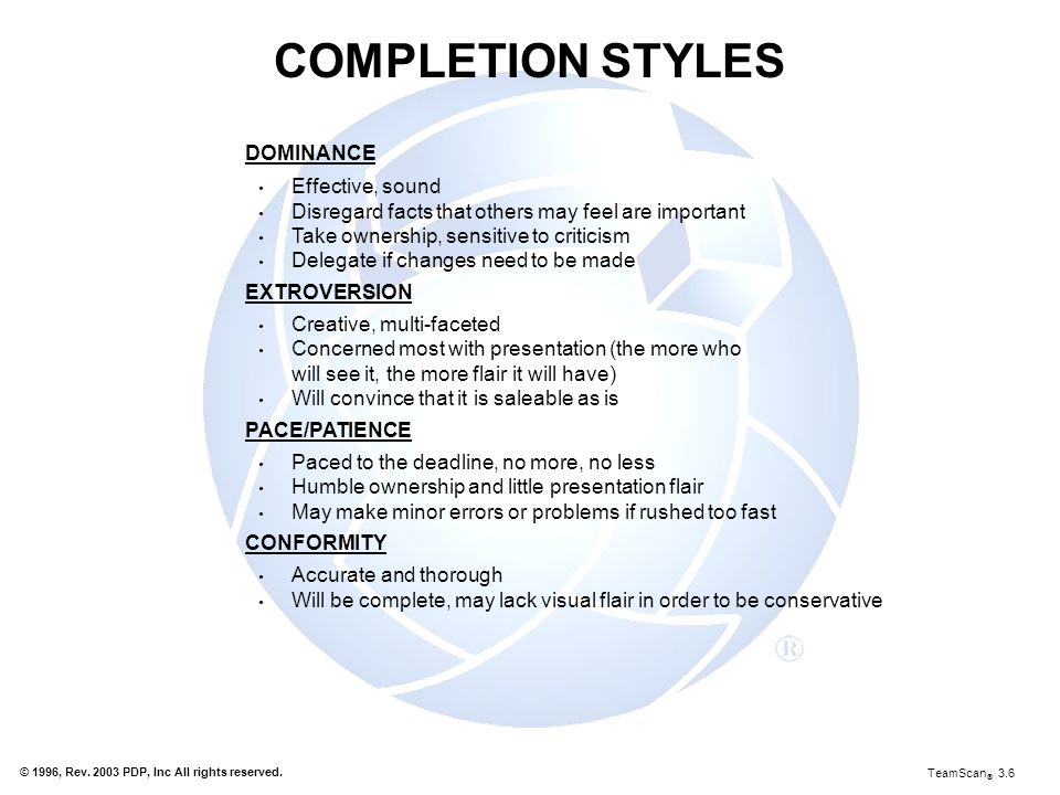 COMPLETION STYLES DOMINANCE Effective, sound