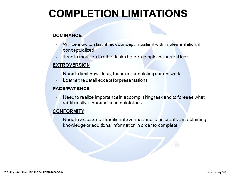 COMPLETION LIMITATIONS