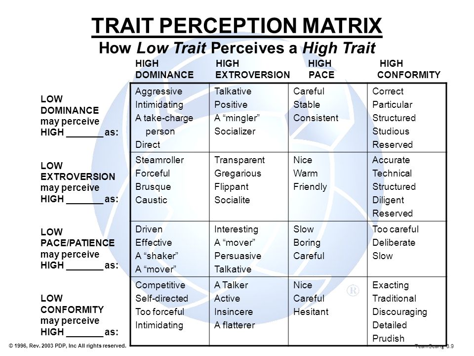 TRAIT PERCEPTION MATRIX How Low Trait Perceives a High Trait