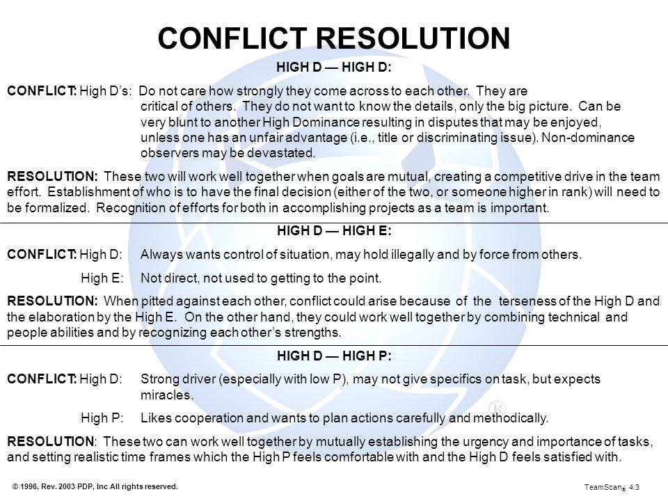 CONFLICT RESOLUTION HIGH D — HIGH D: