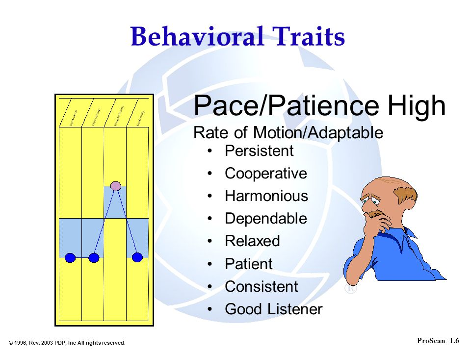 Pace/Patience High Rate of Motion/Adaptable