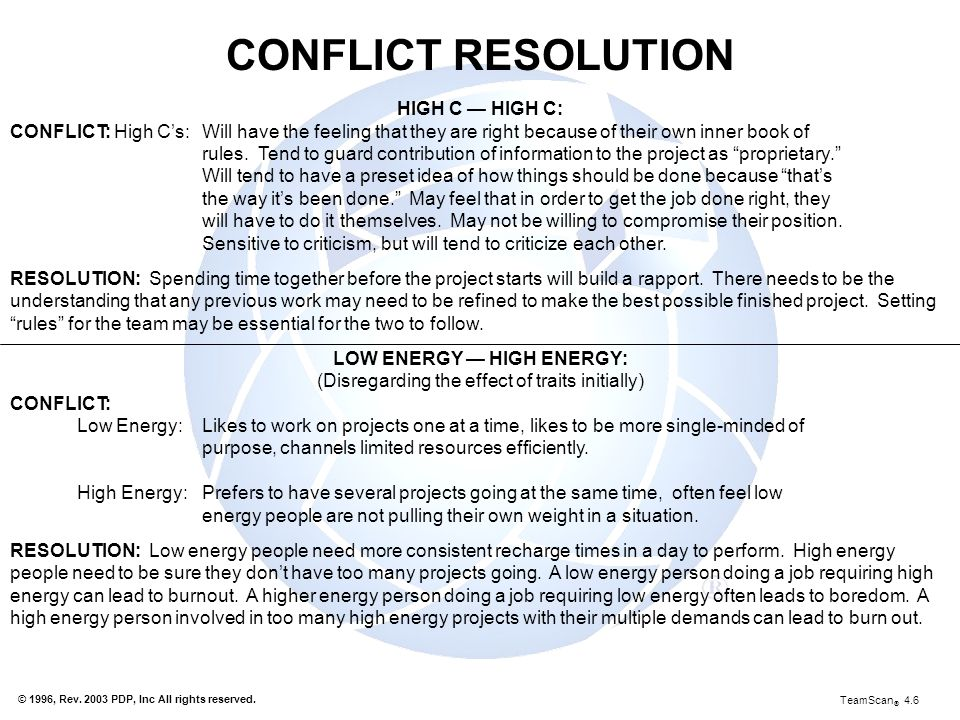 CONFLICT RESOLUTION HIGH C — HIGH C:
