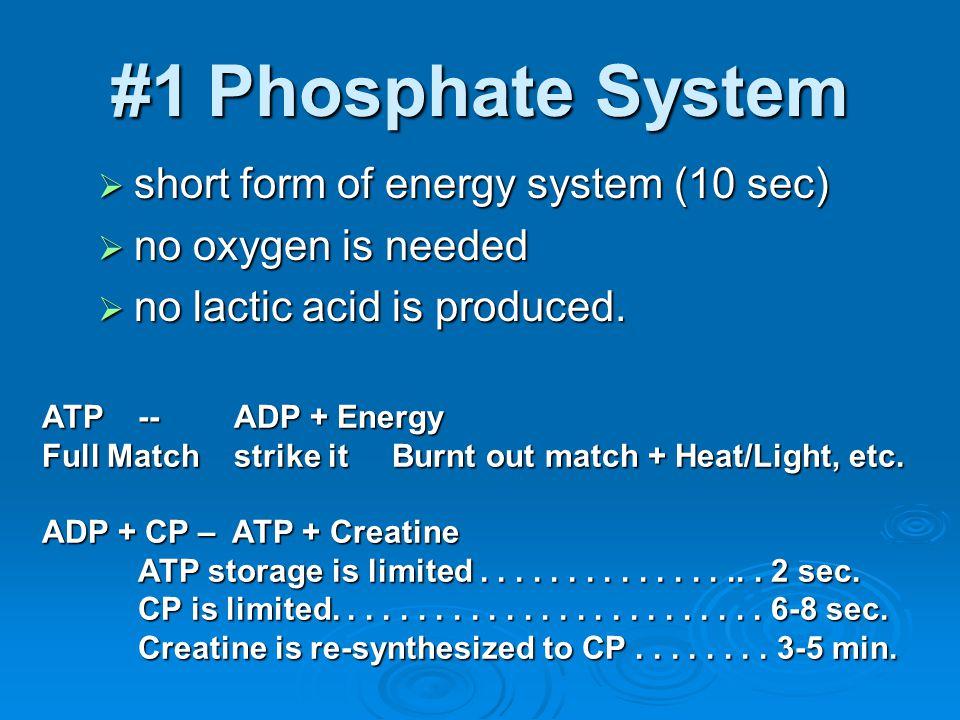 #1 Phosphate System short form of energy system (10 sec)