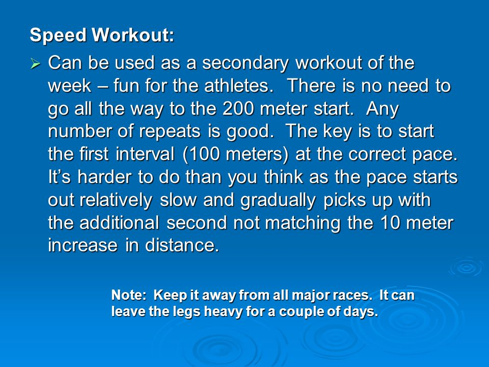 Speed Workout: