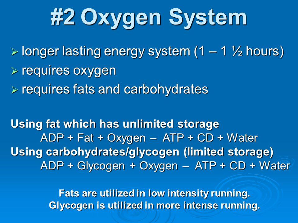 #2 Oxygen System longer lasting energy system (1 – 1 ½ hours)