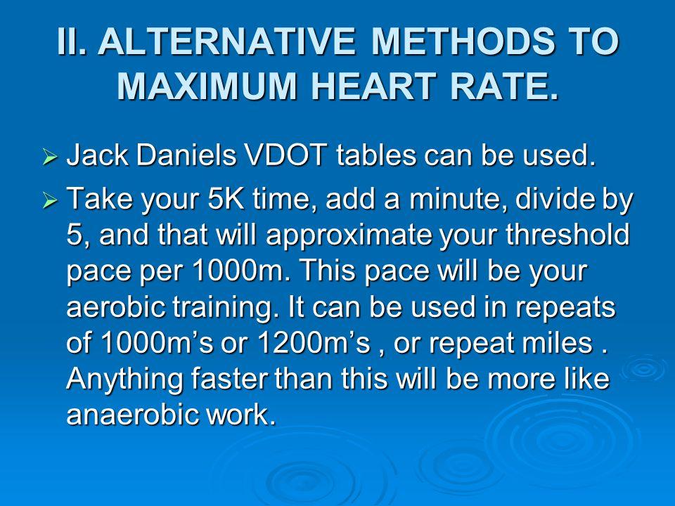 II. ALTERNATIVE METHODS TO MAXIMUM HEART RATE.