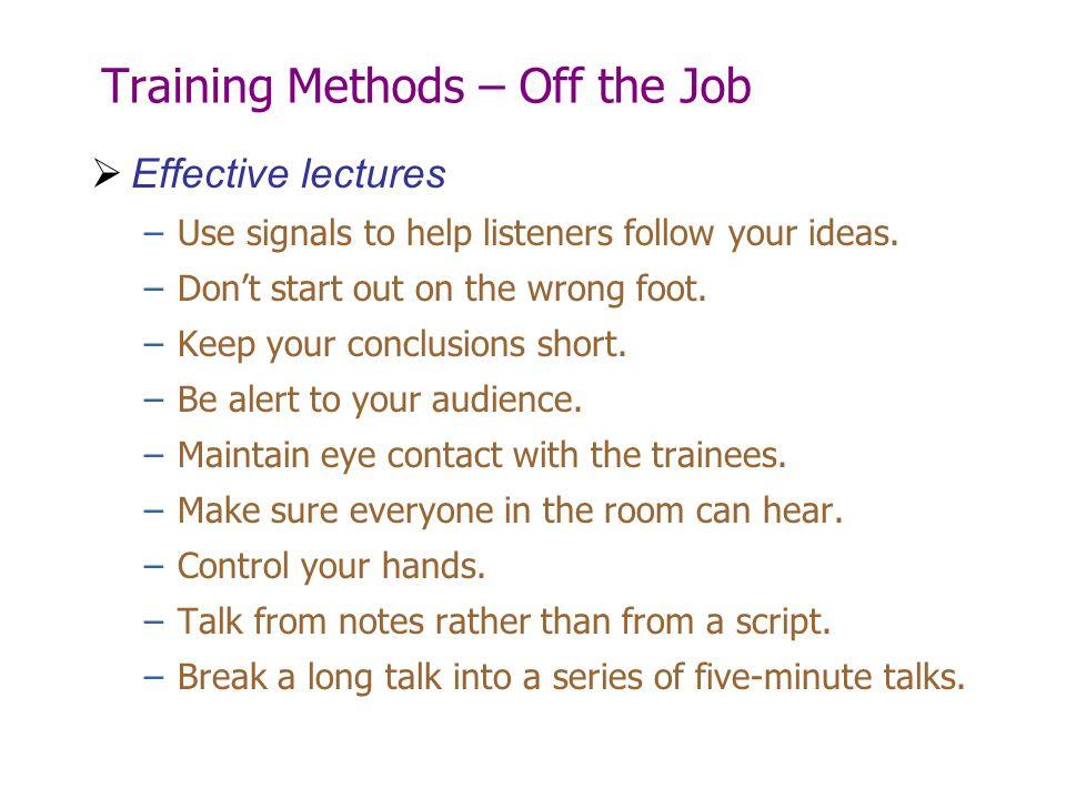 Training Methods – Off the Job