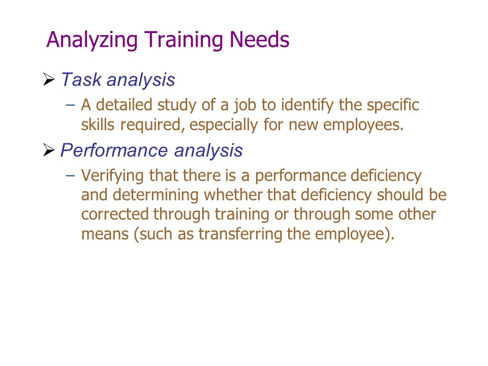 Analyzing Training Needs