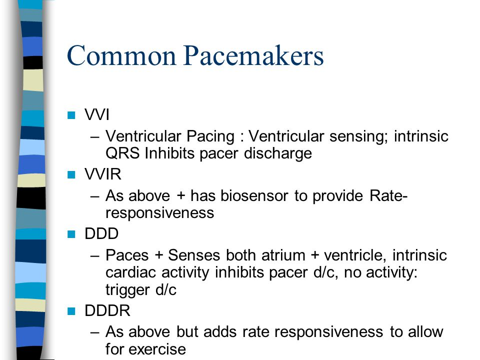Common Pacemakers VVI. Ventricular Pacing : Ventricular sensing; intrinsic QRS Inhibits pacer discharge.