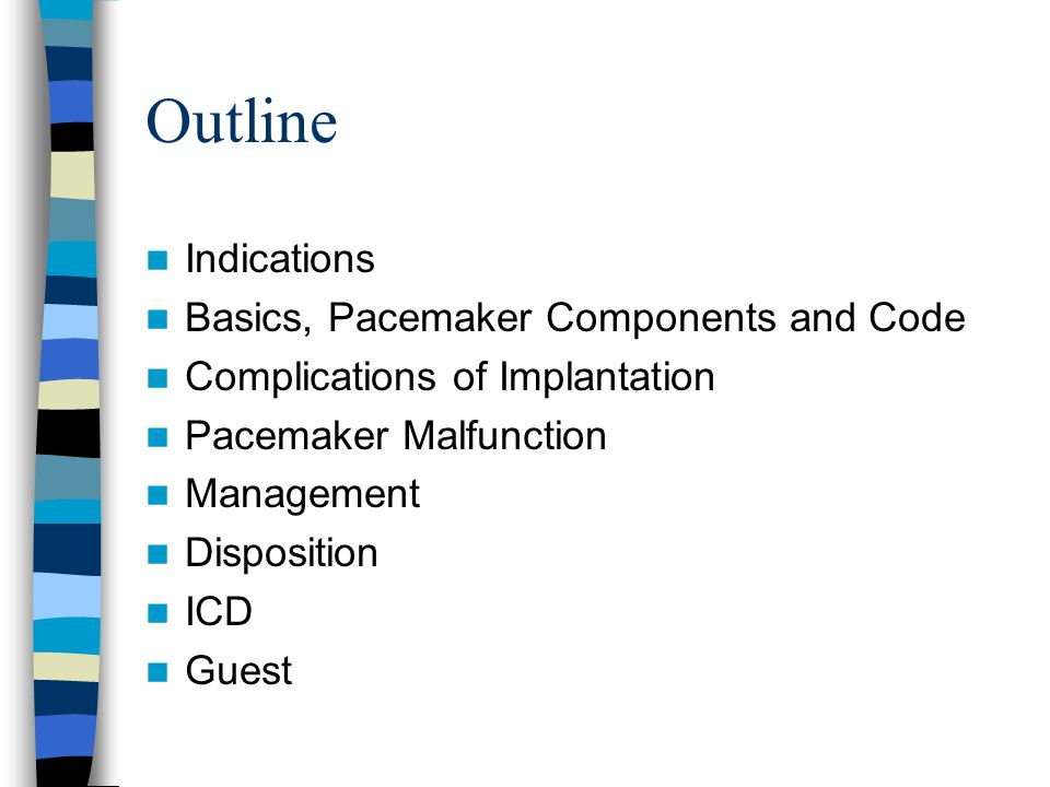 Outline Indications Basics, Pacemaker Components and Code