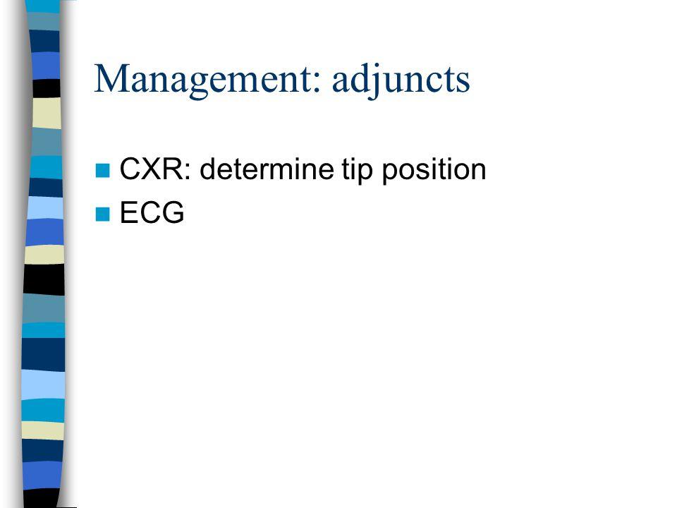 Management: adjuncts CXR: determine tip position ECG
