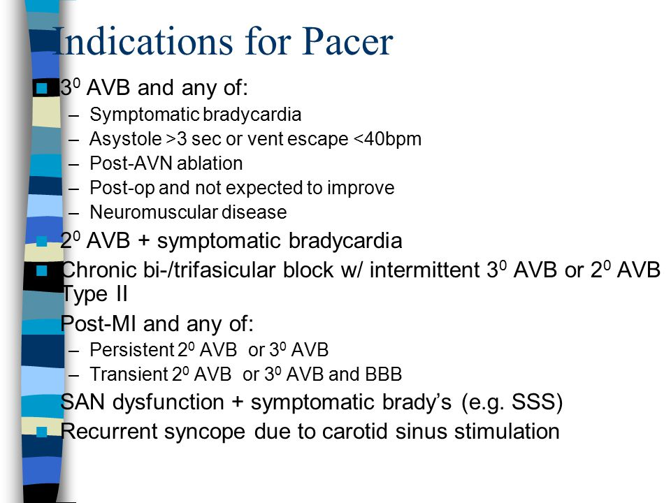 Indications for Pacer 30 AVB and any of:
