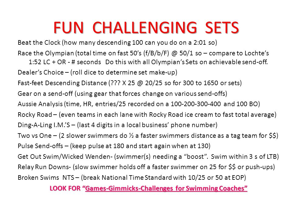 FUN CHALLENGING SETS