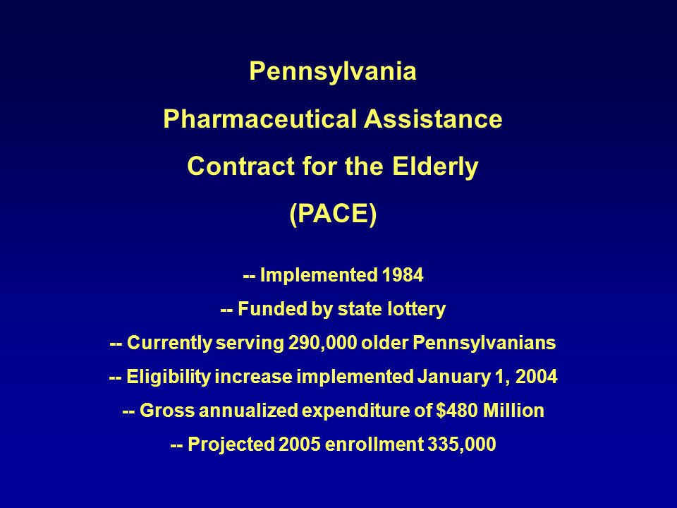 Pennsylvania Pharmaceutical Assistance Contract for the Elderly (PACE)