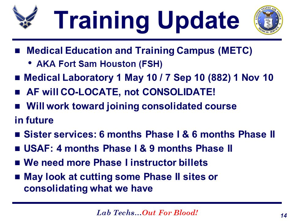 Training Update Medical Education and Training Campus (METC)