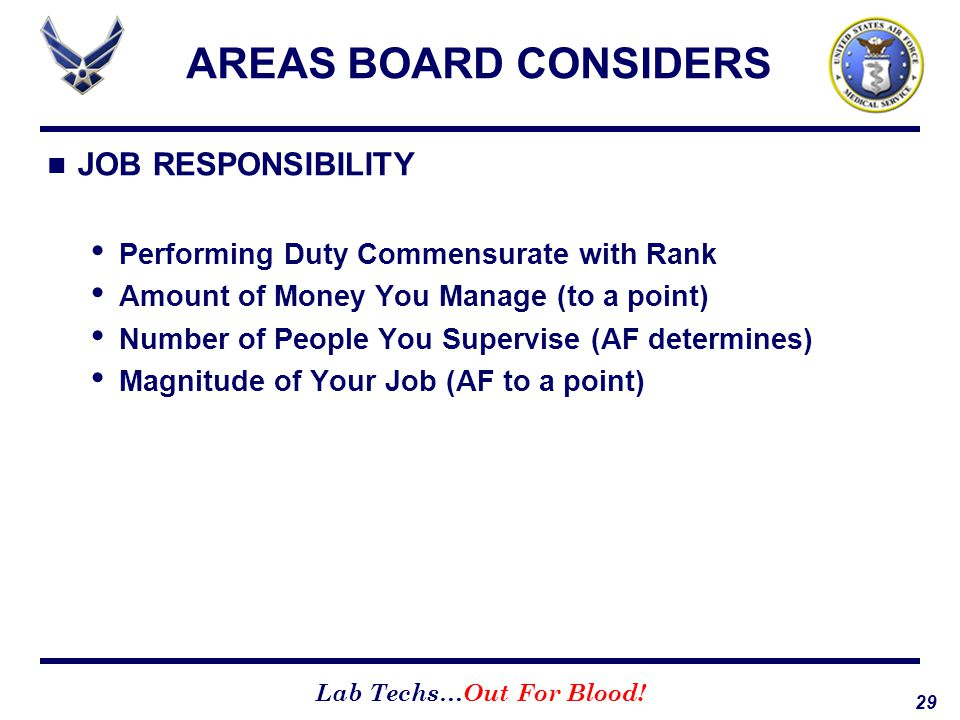 AREAS BOARD CONSIDERS JOB RESPONSIBILITY