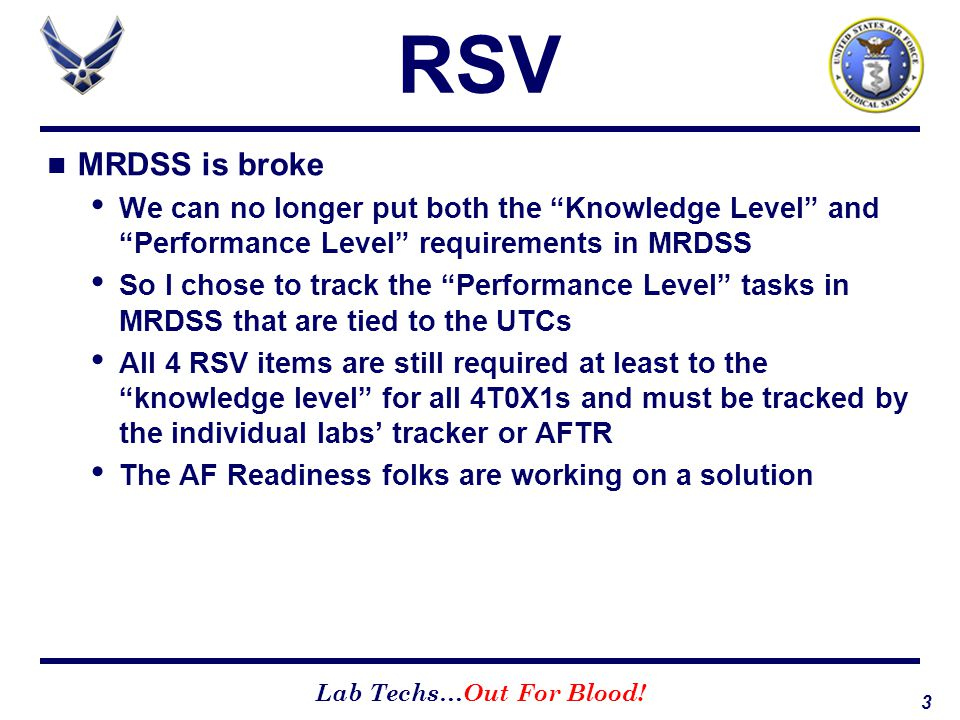 RSV MRDSS is broke. We can no longer put both the Knowledge Level and Performance Level requirements in MRDSS.