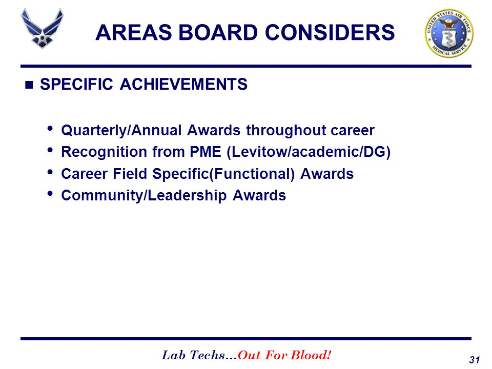 AREAS BOARD CONSIDERS SPECIFIC ACHIEVEMENTS