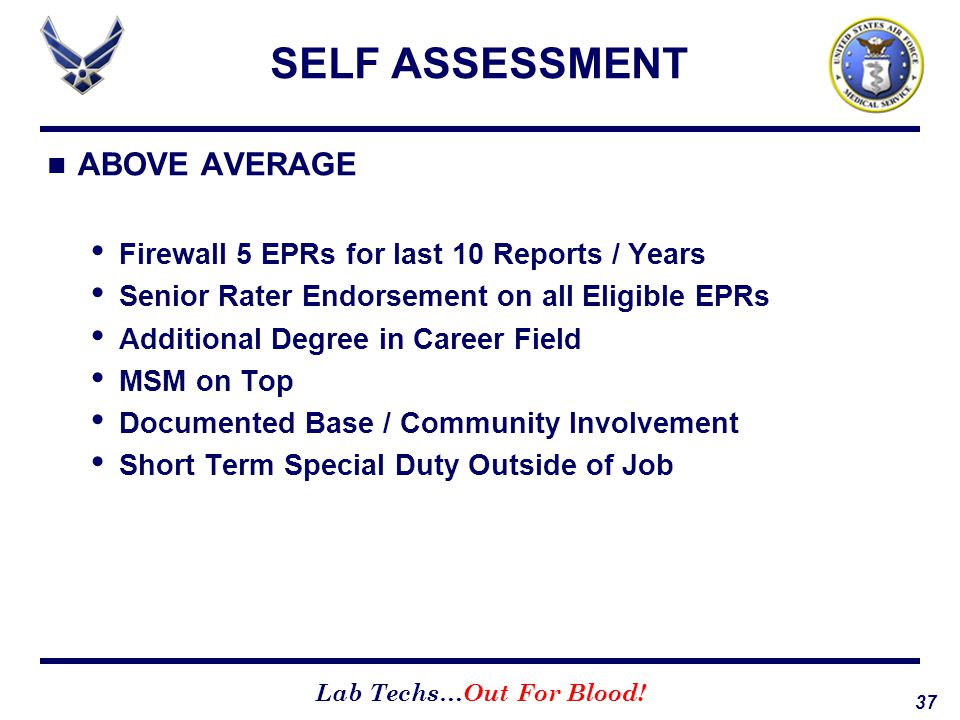 SELF ASSESSMENT ABOVE AVERAGE