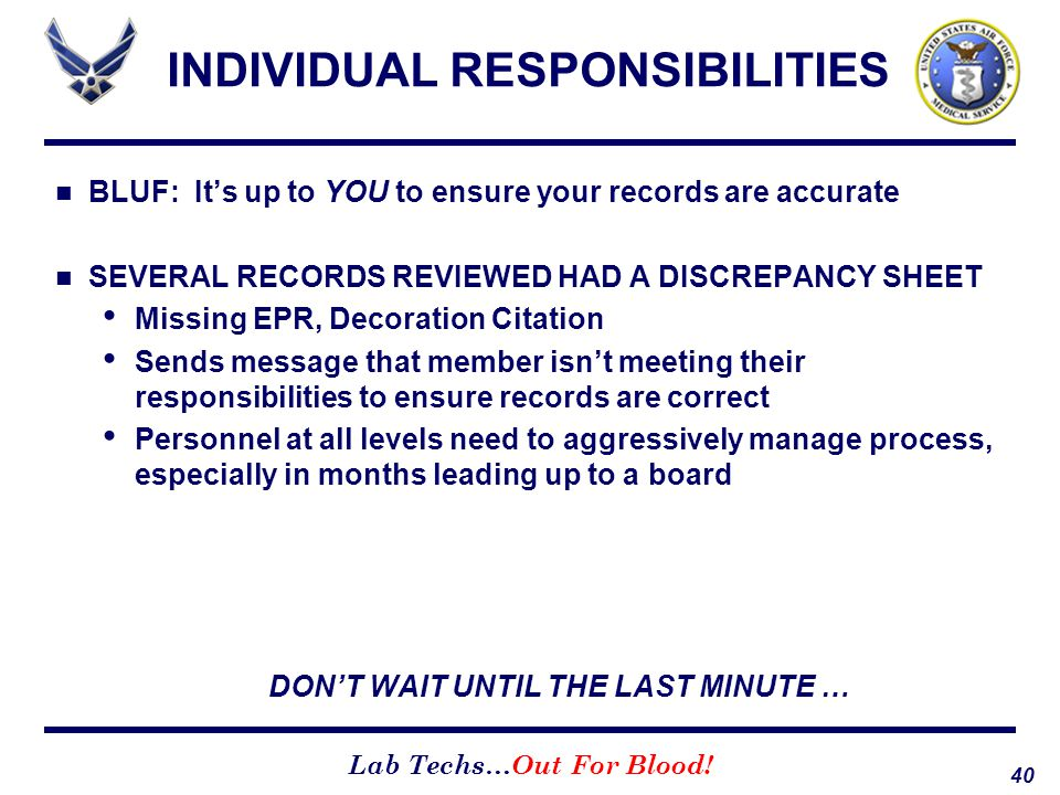 INDIVIDUAL RESPONSIBILITIES