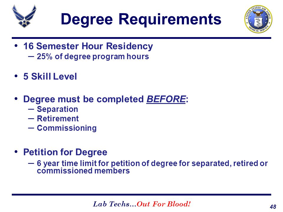 Degree Requirements 16 Semester Hour Residency 5 Skill Level