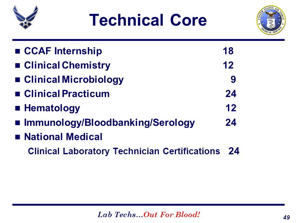 Technical Core CCAF Internship 18 Clinical Chemistry 12