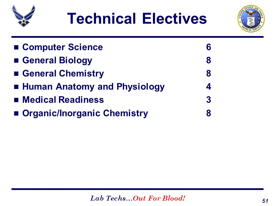 Technical Electives Computer Science 6 General Biology 8