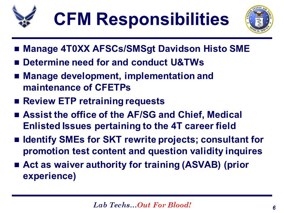 CFM Responsibilities Manage 4T0XX AFSCs/SMSgt Davidson Histo SME