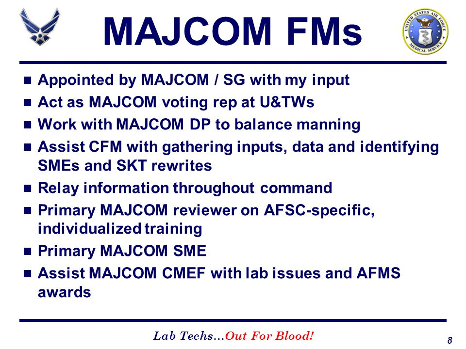 MAJCOM FMs Appointed by MAJCOM / SG with my input
